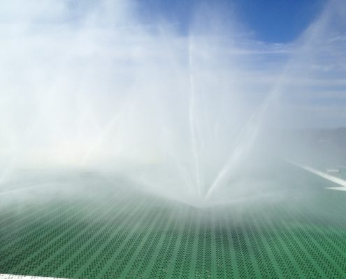 Helipad Sprinklers Operating